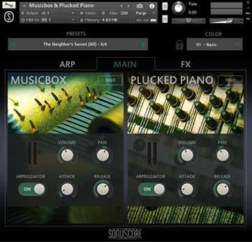 sonuscore music box interface