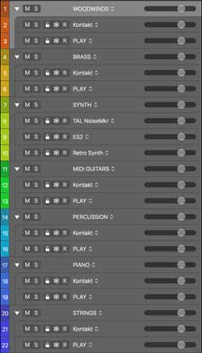 logic pro x track set up