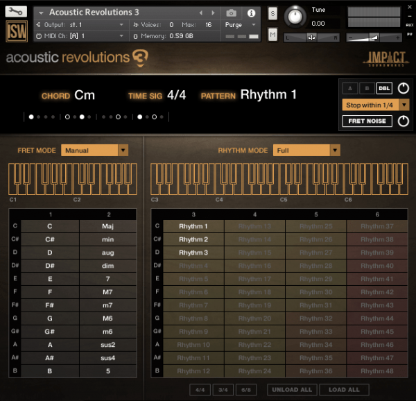 acoustic revolutions 3 interface screenshot